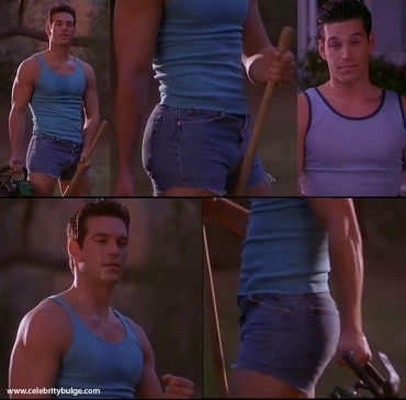 Eddie Cibrian bulge in tight denim shorts